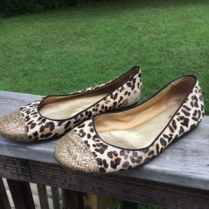 Sperry Cheetah Print Leather Cow Fur Flats 6.5